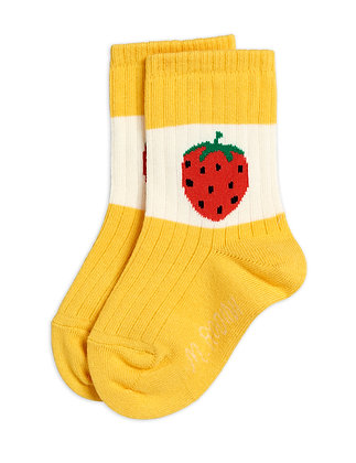 Mini Rodini Strawberry Ribbed Socks (Yellow)