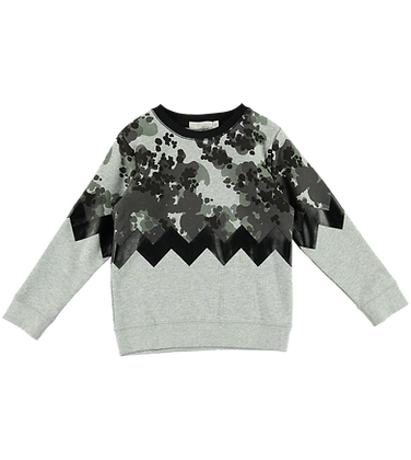 Stella McCartney Boy Speckled Camo Zig Zap Sweatshirt With Camo Logo (Gray)