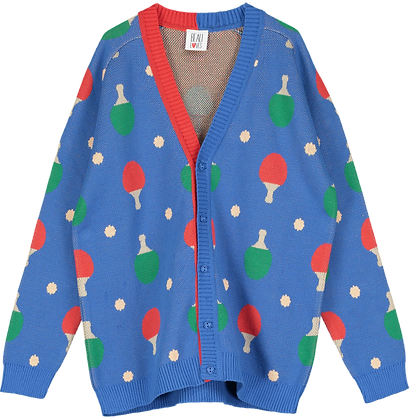 Beau Loves Ping Pong Knit Cardigan (Red Blue & Green)