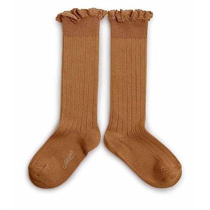 Collégien Lace-Trim Knee-High Socks (No.779 Caramel au Beurre Salé)