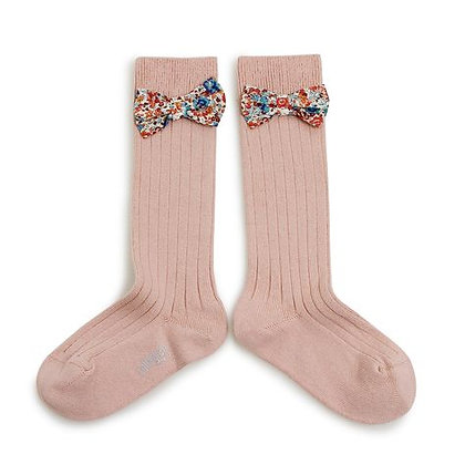 Collégien Liberty Bow Knee-High Socks (No. 331 Vieux Rose)