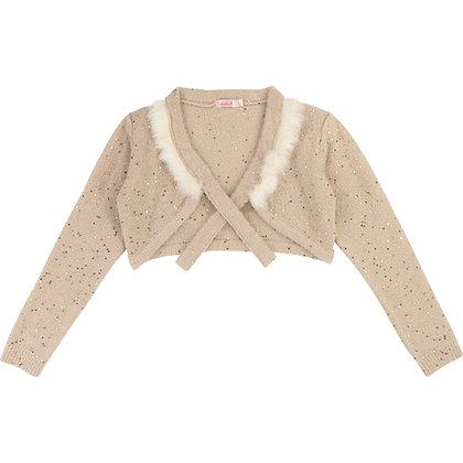 Billieblush Knit Cardigan Neckline Details (Gold)