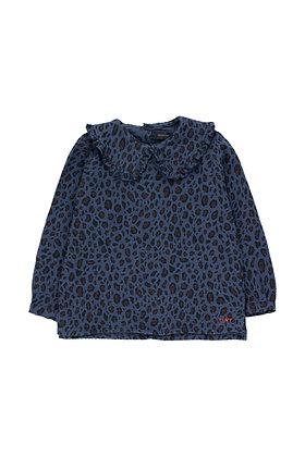 Tiny Cottons Animal Print Shirt (Light Navy/Dark Brown)