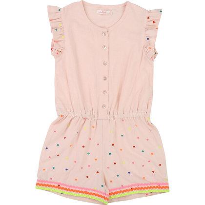 Billieblush Dotted Button Up Romper (Pink)