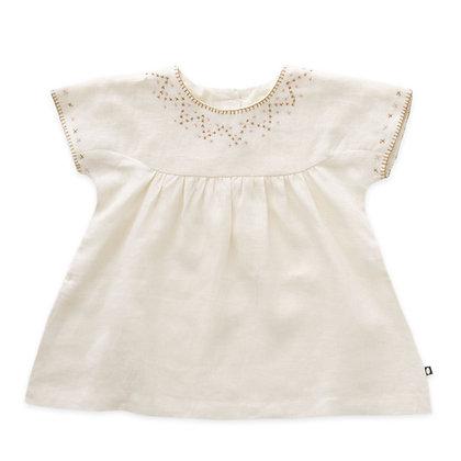 Oeuf Cross Stitch Short sleeve Dress (Gardenia)