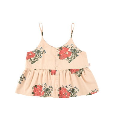 """Tiny Cottons """"Flowers"""" Blouse (Cappuccino/Red)"""
