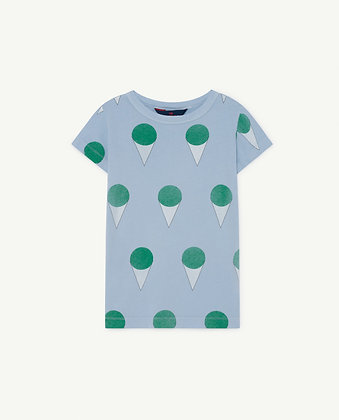 The Animals Observatory Hippo Kids T-shirts (Blue Icecream)