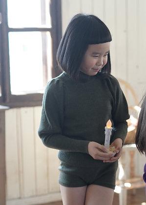 Mes Kids Des Fleurs Puff Sleeve Sweater (Green)