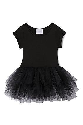 Plum Short Sleeve Tutu Dress (Stella Black)