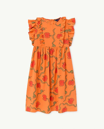 The Animals Observatory Otter Kids Dress (Orange Apples & Snakes)