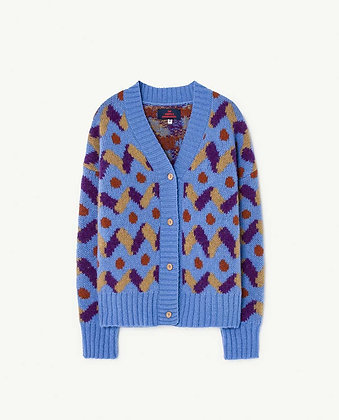 The Animals Observatory Multicolor Racoon Kids Cardigan (Blue)