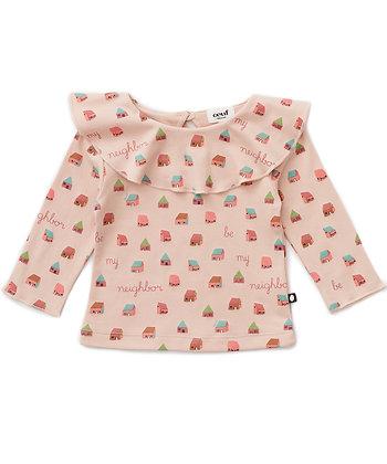 Oeuf Ruffle Collar Shirt (Warm Blush/House)