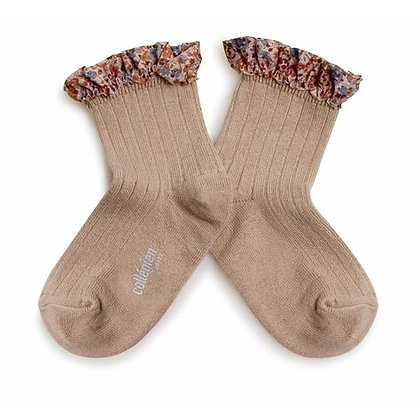 Collégien Liberty Ruffle Ankle Socks (No.226 Petite Taupe)