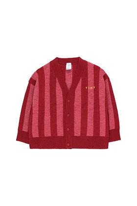 Tiny Cottons Stripes Cardigan (Burgundy/Bubble Gum)