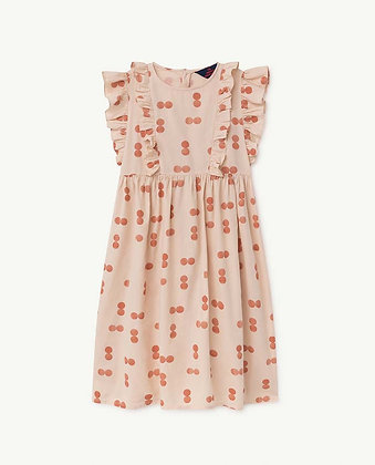 The Animals Observatory Otter Kids Dress (Orange Circles)