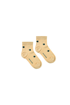 Tiny Cottons 'Apples' Quarter Socks (Sand/Bottle Green)