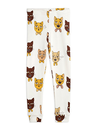 Mini Rodini Cat Choir Leggings (Offwhite)