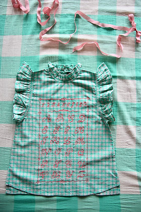 Bonjour Top with Embroidery ABC  (Mint Check)