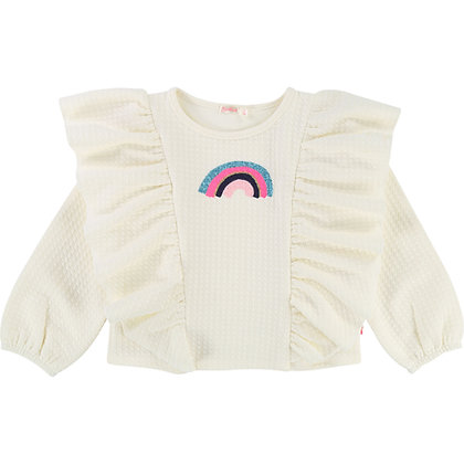 BILLIEBLUSH RAINBOW RUFFLE TOP (IVORY)