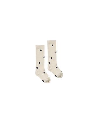 Rylee + Cru Dot Knee Socks (Black/Wheat)