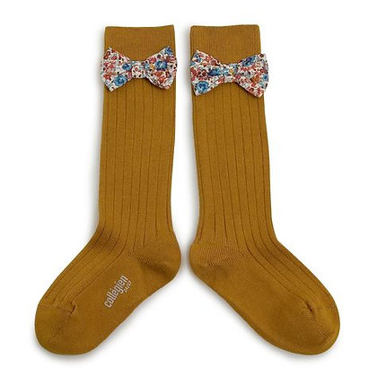 Collégien Liberty Bow Knee-High Socks (No. C37 Moutarde de Dijon)