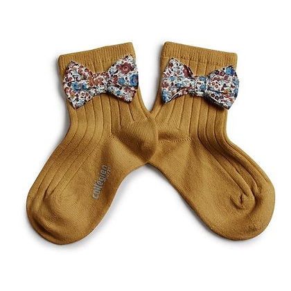 Collégien Liberty Bow Ankle Socks (No. C37 Moutarde de Dijon)