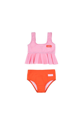 Tiny Cottons 'SMILE' Frill Swim Set (Pink/Red)