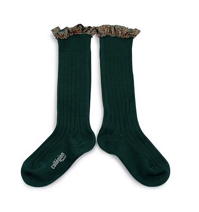 Collégien Liberty Ruffle Knee-High Socks (No. 785 Vert Forêt)