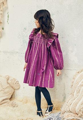Nellystella Kiki Dress (Lurex Stripes Hibiscus)