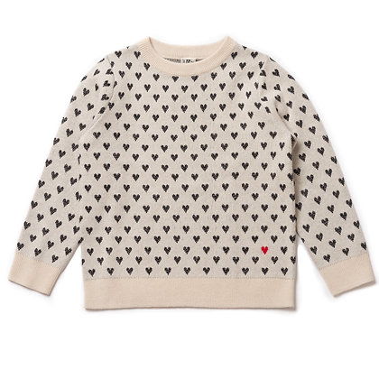 Bonton/Bonbon Heart Sweater (Grey/White)