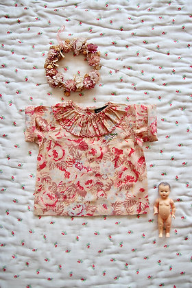 Bonjour Baby Blouse with Embroidery  (Red Big Flowers)