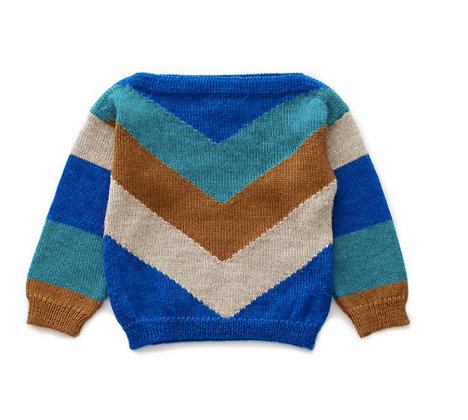 Oeuf Chevron Sweater (Electric Blue/Multi)