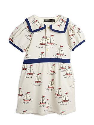 Mini Rodini Sailing Boats Puff Dress (Light Blue)