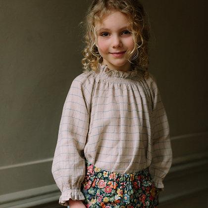 Nellie Quats Mother May Blouse (Oat & Cornflower Windowpane Check Linen)