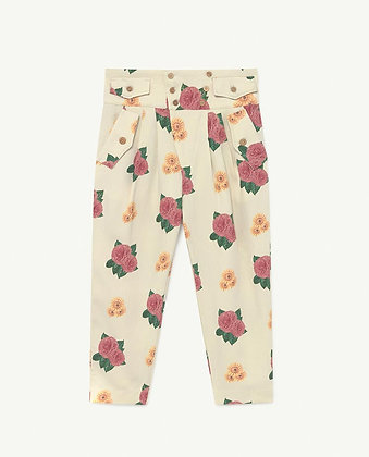 The Animals Observatory Camel Twill Kids Trousers (White Flowers)