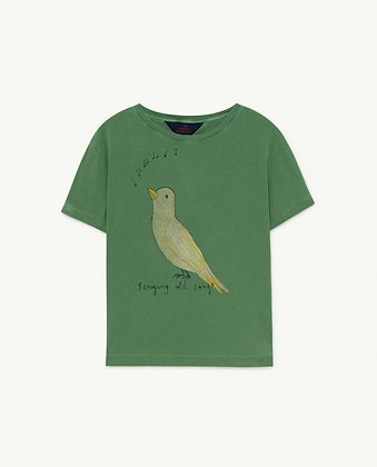 The Animals Observatory Rooster Kids T-Shirt (Green Bird)