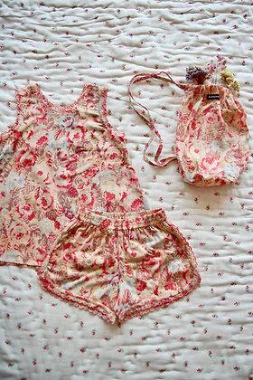 Bonjour Girl Pajama Set + Bag (Red Big Flowers)