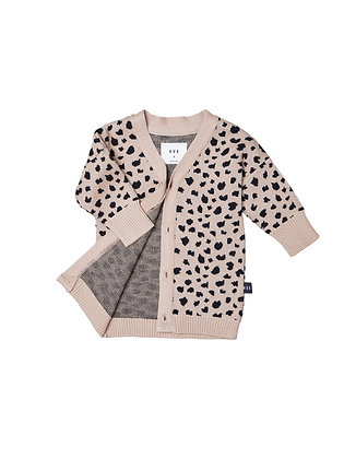 Huxbaby Leopard Knit Cardi (Biscuit)