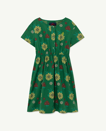 The Animals Observatory Dolphin Kids Dress (Green Flowers)