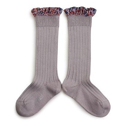 Collégien Liberty Ruffle Knee-High Socks (No. 238 Jour de Pluie)
