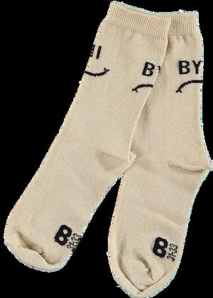 "Beau Loves ""Hi/Bye"" Ankle Socks (Gold)"