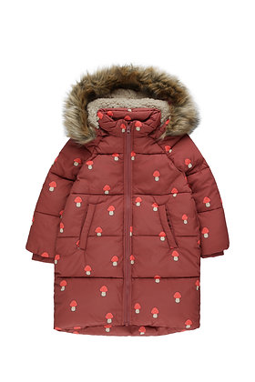 Tiny Cottons 'Mushrooms' Padded Jacket (Dark Brown/Red)