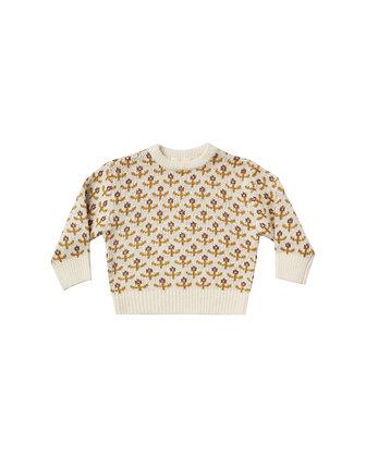 Rylee + Cru Flower Stitch Knit Pullover (Ivory)