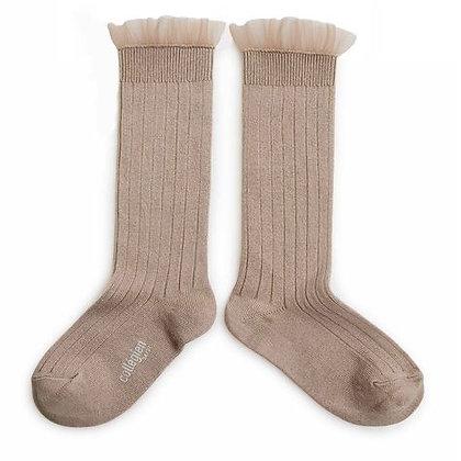 Collégien Tulle Knee-High Socks (No.226 Petite Taupe)