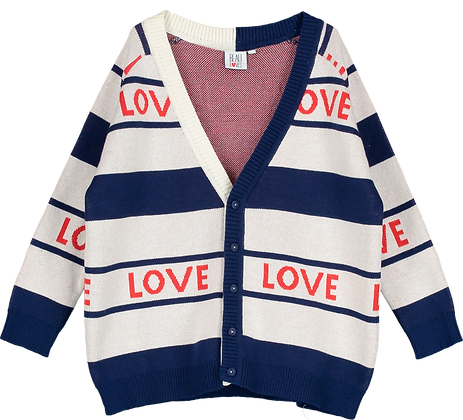"""Beau Loves Knit Cardigan (Navy Red """"Love"""")"""