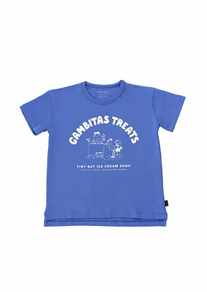Tiny Cottons Gambitas Treats Tee (Iris Blue/Light Cream)