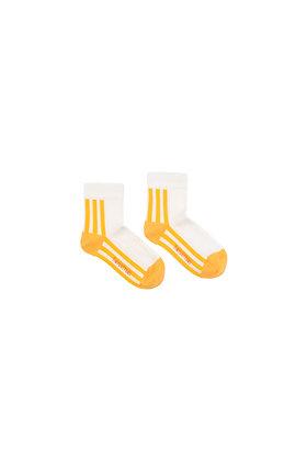 Tiny Cottons 'STRIPES' Quarter Socks (Off-white/Canary)
