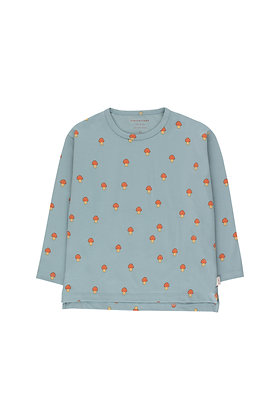 Tiny Cottons 'Mushrooms' Tee (Warm Grey/Red)