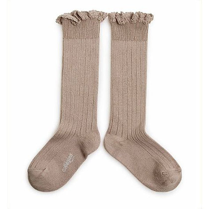 Collégien Lace-Trim Knee-High Socks (No.226 Petite Taupe)