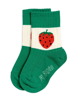 Mini Rodini Strawberry Ribbed Socks (Green)